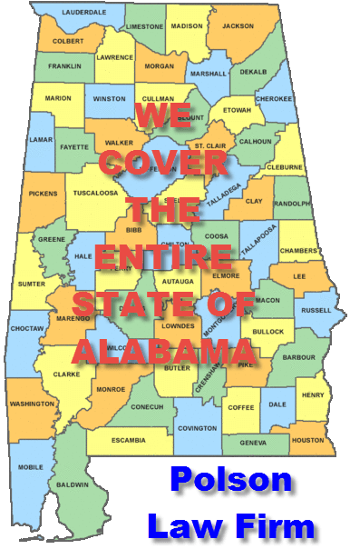 Colored map of Alabama- shows that Polson and Polson fights AL DUIs anywhere in Alabama
